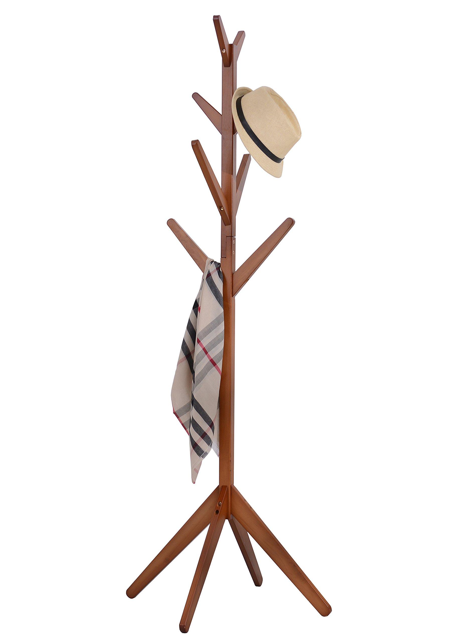 Neasyth Solid Wood Coat Rack SimpleEntryway Standing Hall Tree Tetrapod Base for Hat Jacket Coat Hanger Rack in Living Room Bedroom