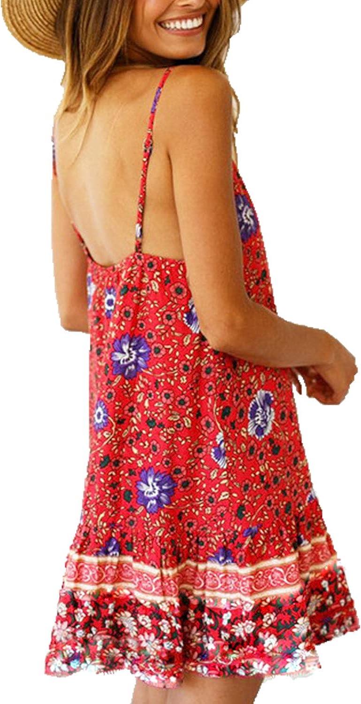 Snyemio Mujer Vestido de Verano con Estampado Floral Cuello en v para Cortos Playa Casual Mini Tops