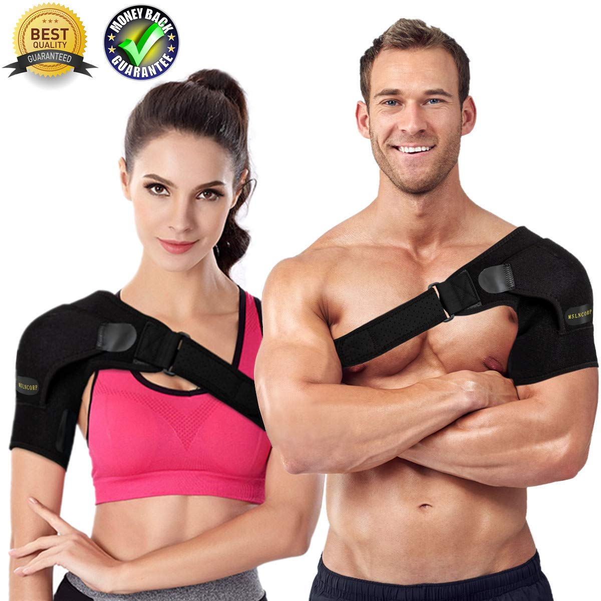 Shoulder Brace for Men and Women Rotator Cuff Brace Adjustable Shoulder Support Shoulder Sleeve Shoulder Compression Sleeve Prevention Dislocated AC Joint Labrum Tear Tendonitis by MSLNCORP
