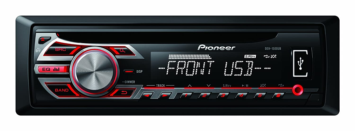 Pioneer RDS Tuner with Illuminated Front USB and Aux-In - Black DEH-1500UB