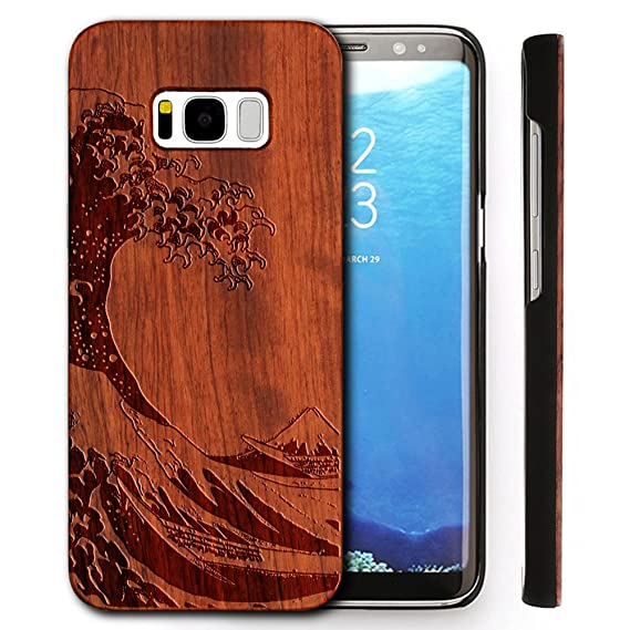 huge selection of 3c5cc 49821 Wooden Case for Samsung Galaxy S8 , Wood Smartphone Case, YUANQIAN Unique  Handmade Natural Solid Wood Engraving Wave Case Wood Wave(Waves)