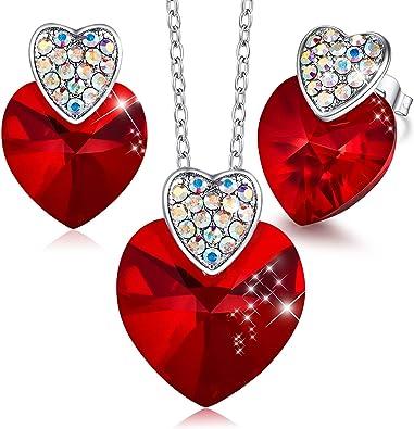 Charm El Dia De La Madre Regalo Para Mamá amigo Rojo Collar Colgante Corazón De Cristal