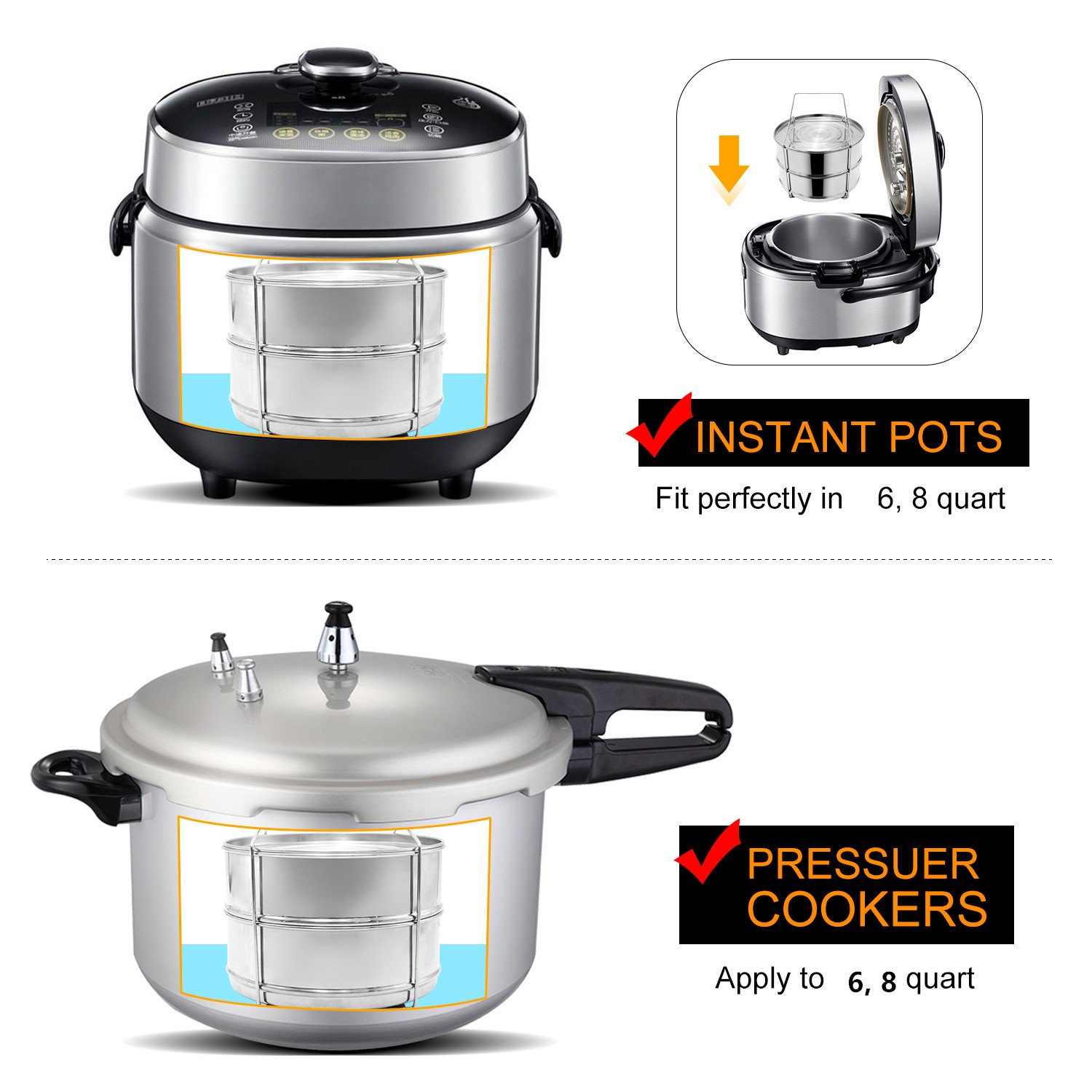 Stackable Steamer Insert Pans, Stainless Steel Insert Steamer for 6/8 Quart Instant Pot Pressure Cooker Baking Lasagna Pans Pot in Pot Accessories Cook 2 foods at Once by youermei (Image #5)