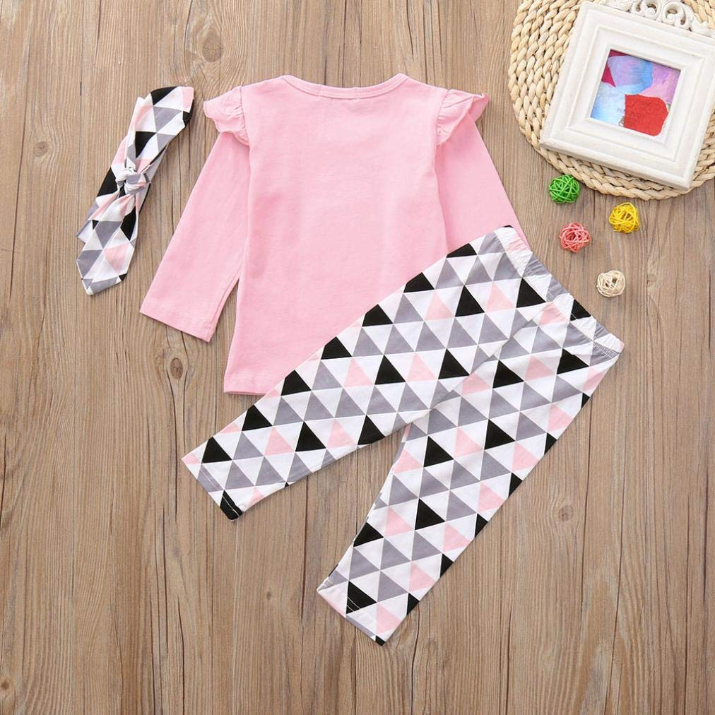 Felicy Newborn Baby Girl Long Sleeve Letter Print Ruched Tops Geometric Pants Set Pajamas Outfits Pink, 18-24 Months Baby Clothes Set