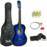 """Smartxchoices Acoustic Guitar for Starter Beginner Music Lovers Kids Gift 38"""" 6-String Folk Beginners Acoustic Guitar With Gig bag, Strap, Tuner and Pick (Blue)"""