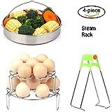 Steamer Basket Rack Set for Instant Pot Accessories - Egg Steamer Rack/Vegetable Steamer Basket Fits Instant Pot 5, 6, 8qt Pressure Cooker with Foldable Bowl Plate Dish Clip