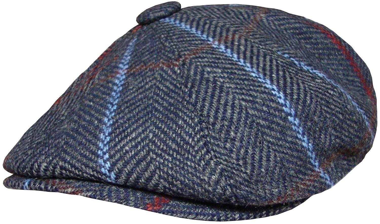 Mens Baker Boy Cap Peaked Country Flat Caps Herringbone Gatsby Hat Blue or Green