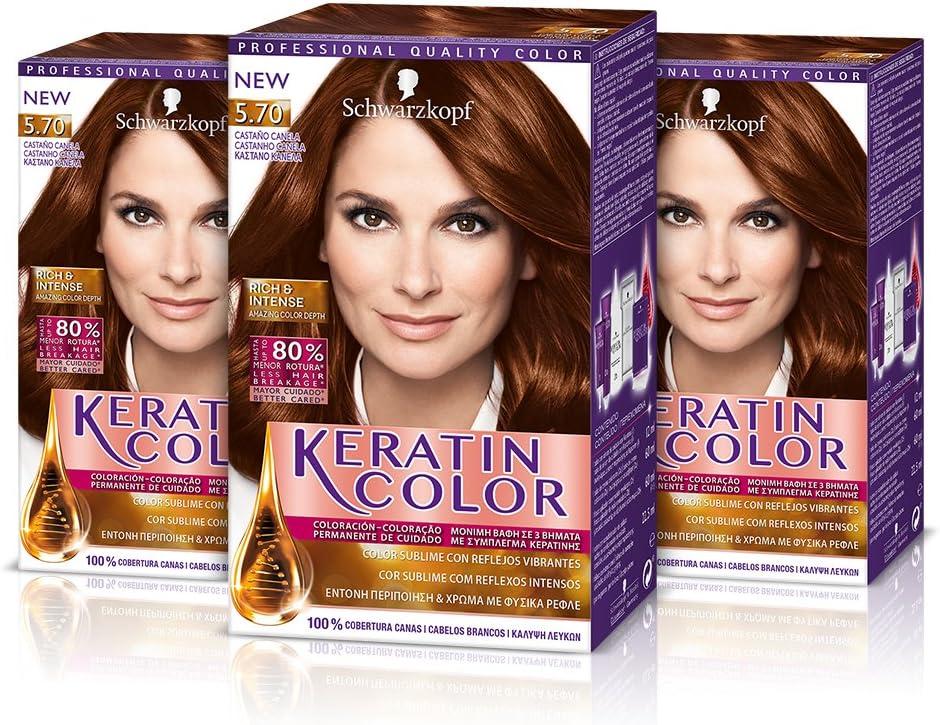 Keratin Color Cream Coloración del Cabello 5.70 Castaño ...
