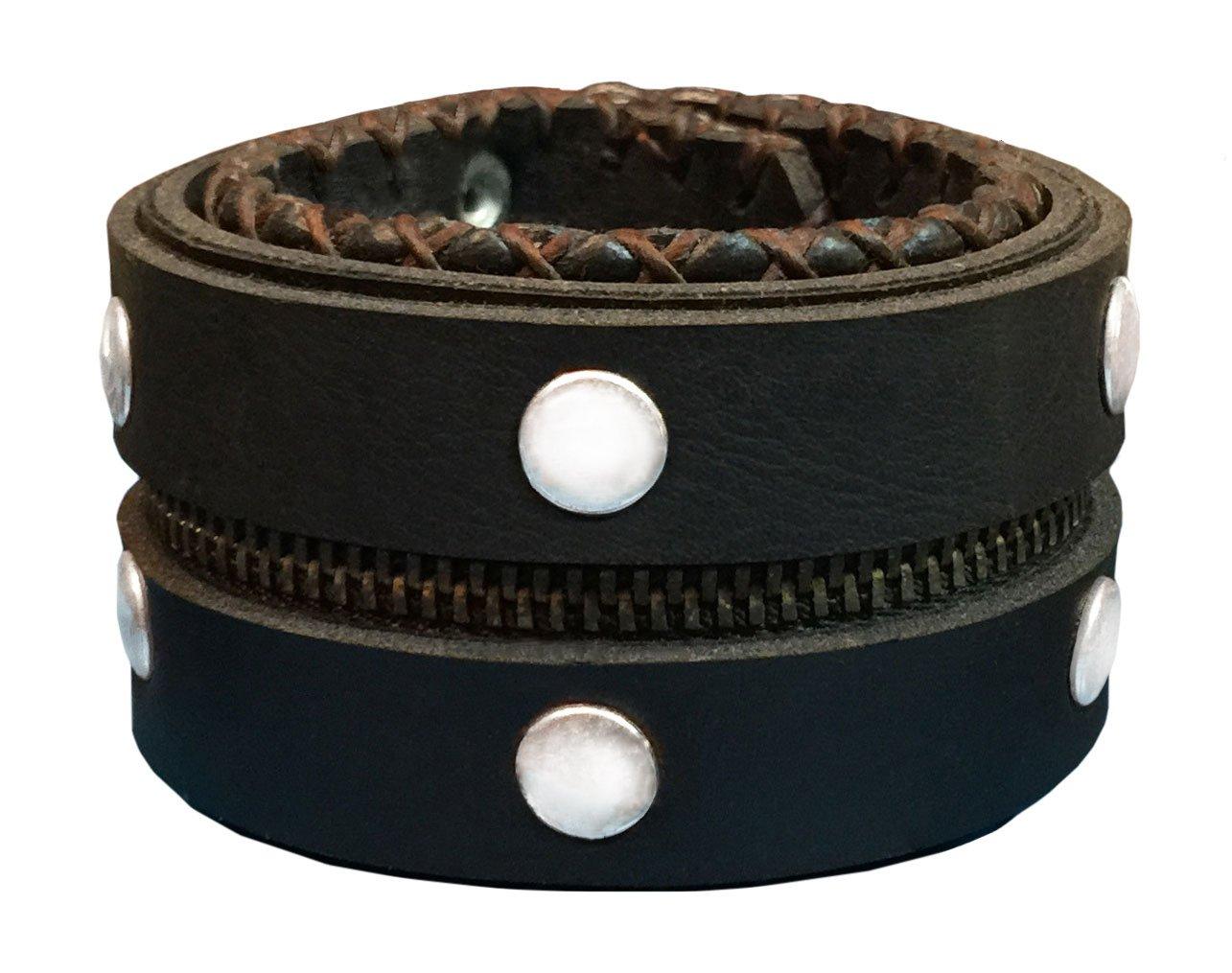 D'SHARK 1.8'' Studded Punk Rock Biker Leather Cuff Bracelet Wristband for Unisex - (Dark Brown)