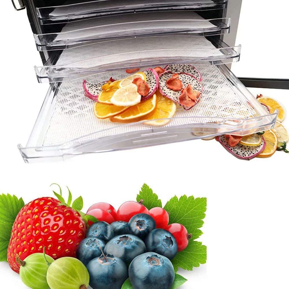 6 Pack,14x14 Inch Silicone Dehydrator Sheets,Reusable Fruit Dryer Mesh,Non-Stick Fruit Dehydrator Mats,High Heat Resistant Dehydrator Tray Liners Square
