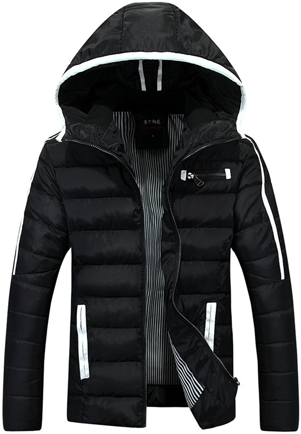 Jinmen Mens Casual Thick Warm Hooded Cotton Down Jacket