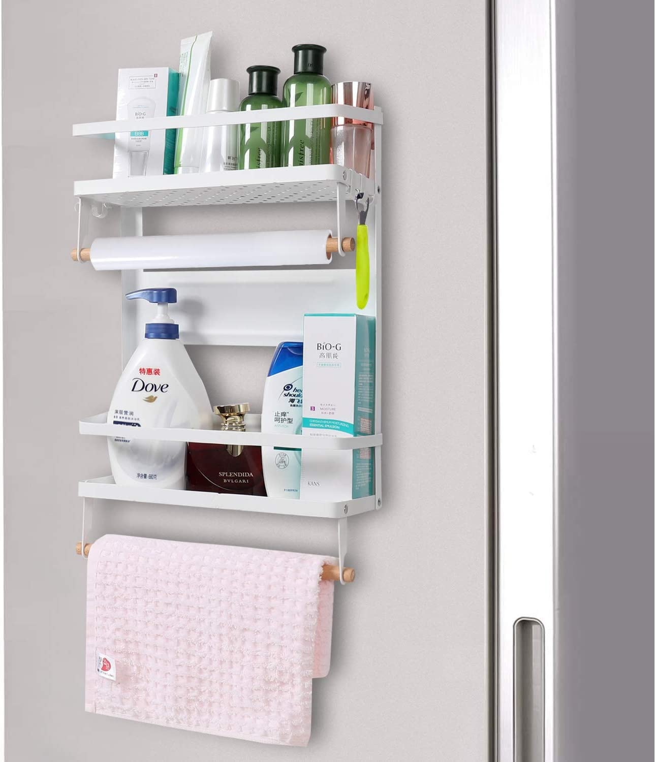 Fortry Magnetic Fridge Spice Racks Organizer with 5 Removable Hooks, Magnet Kitchen Organizer Shelf for Refrigerator, Large Magnetic Paper Towel Roll Holder for Fridge, Freezer, White