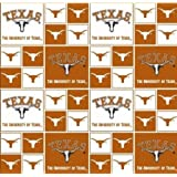 Cotton College University of Texas Longhorns Print Cotton Fabric By the Yard