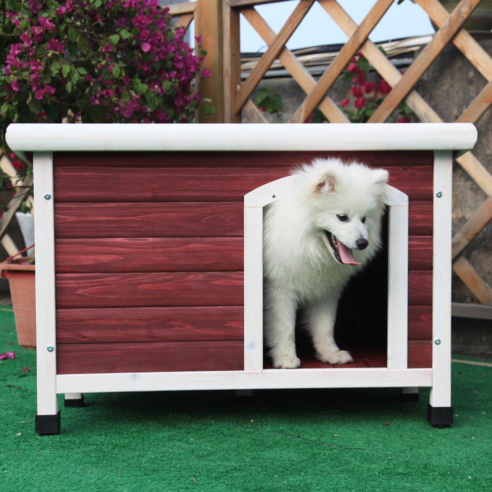 Petsfit Hunde Holzhütte, Schutz im Freien, rote Farbe