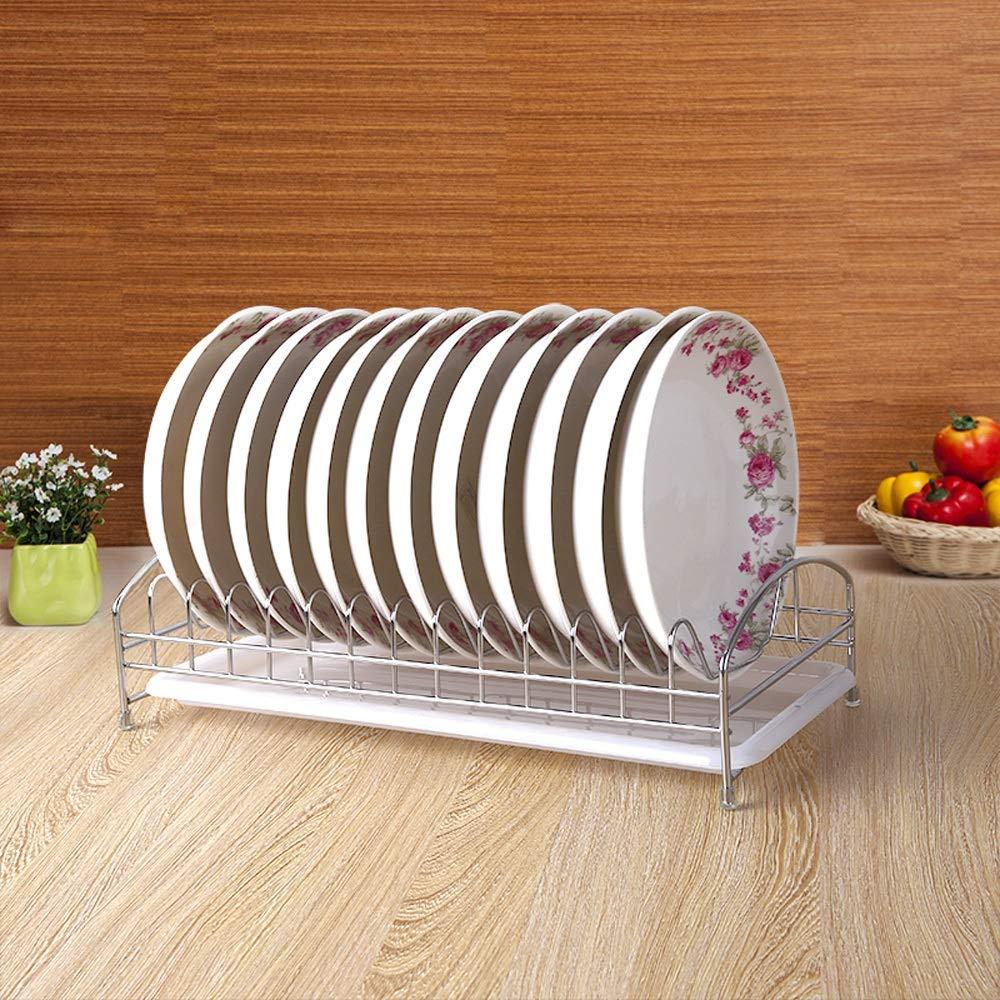 Chen Shelf Dish rack drain rack dish rack single layer drip rack drying kitchen rack storage storage tray color random delivery silver