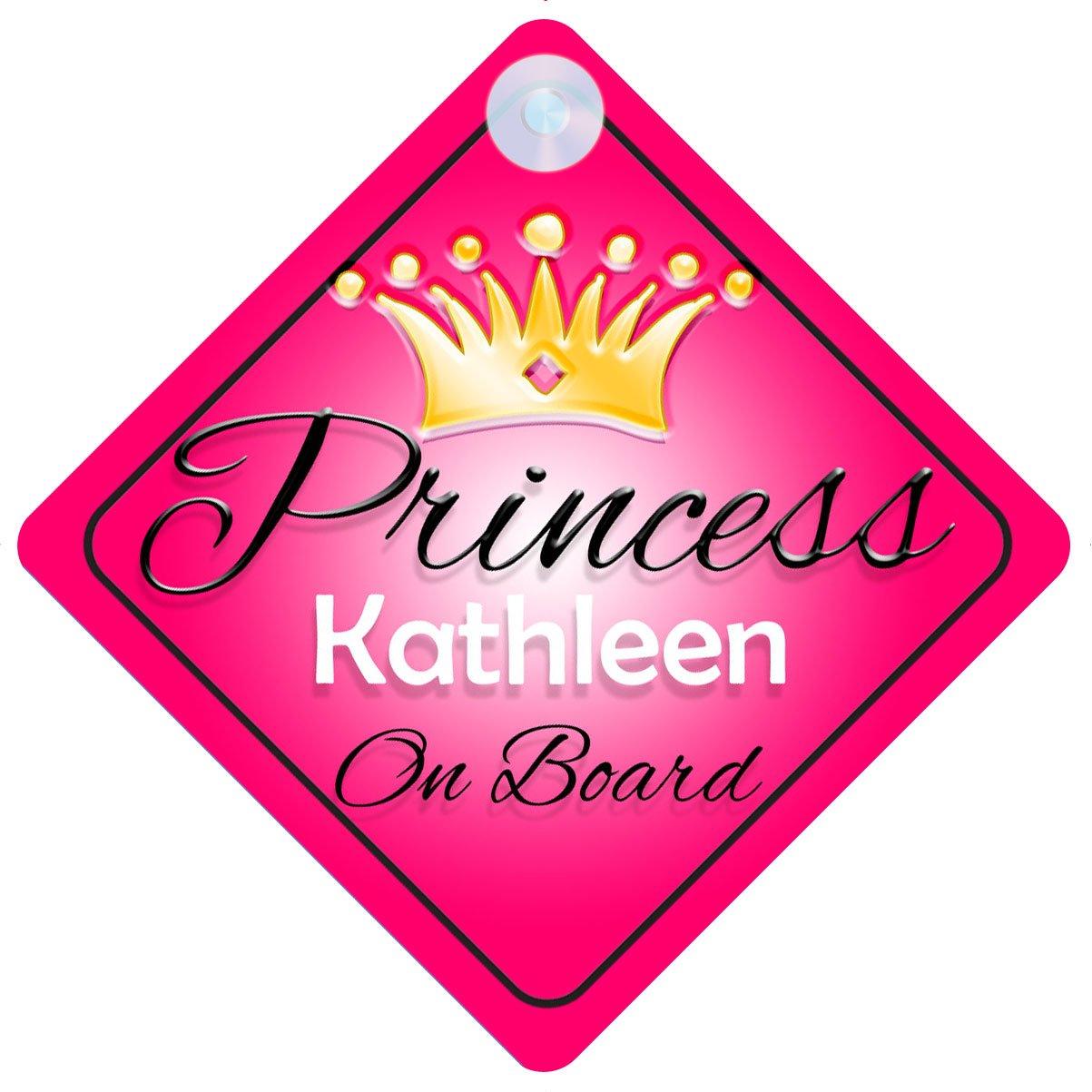 Enseigne pour voiture personnalisable pour fille avec inscription 'Princess Kathleen on board' - Cadeau enfant (Franç ais non garanti) Quality Goods Ltd
