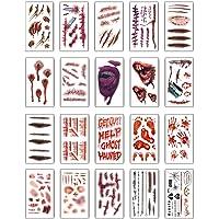 Halloween Tatuajes(20 hojas), UMIPUBO Tatuajes Temporales Zombie Cicatrices Tatuajes Pegatinas con Falso Scab Sangre…