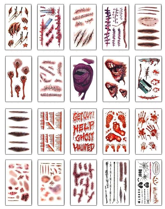 Tuopuda 20 hojas Halloween Zombie Cicatrices Tatuajes Pegatinas ...