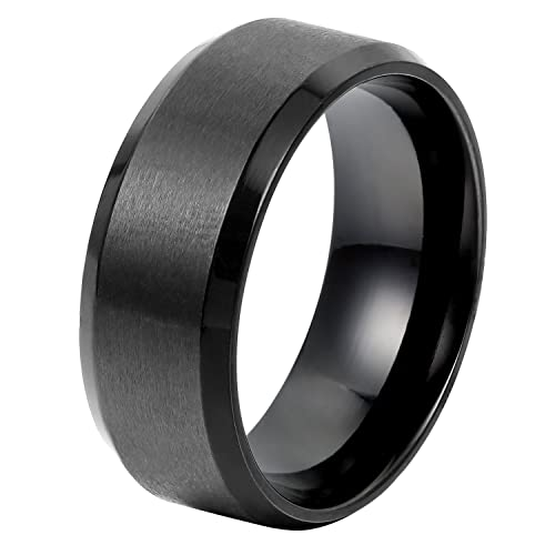 Oidea High Polished 8mm Stainless Steel Mens Rings Wedding Bands