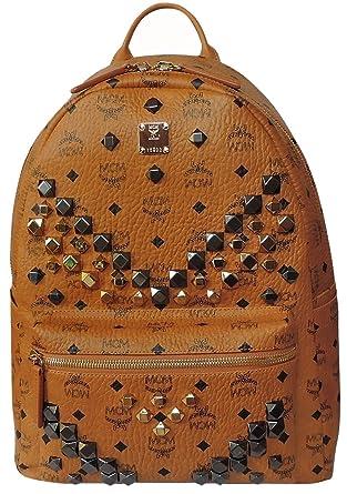 30fe2bf05 Amazon.com | MCM Unisex Stark M Stud Medium Backpack Cognac One Size |  Backpacks