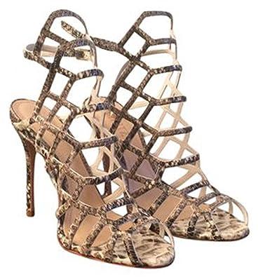 97009eb8f8 SCHUTZ Juliana Dress Sandal Yucca Caged Strappy Geometric Snakeskin Slender  Heel (5)