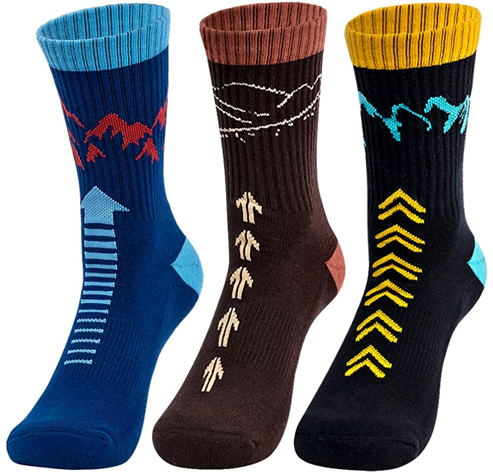 Time May Tell Mens Hiking Athletic Socks Moisture Wicking Cushion Crew Socks for Terkking,Outdoor Sports,Performance 2/4 Pack