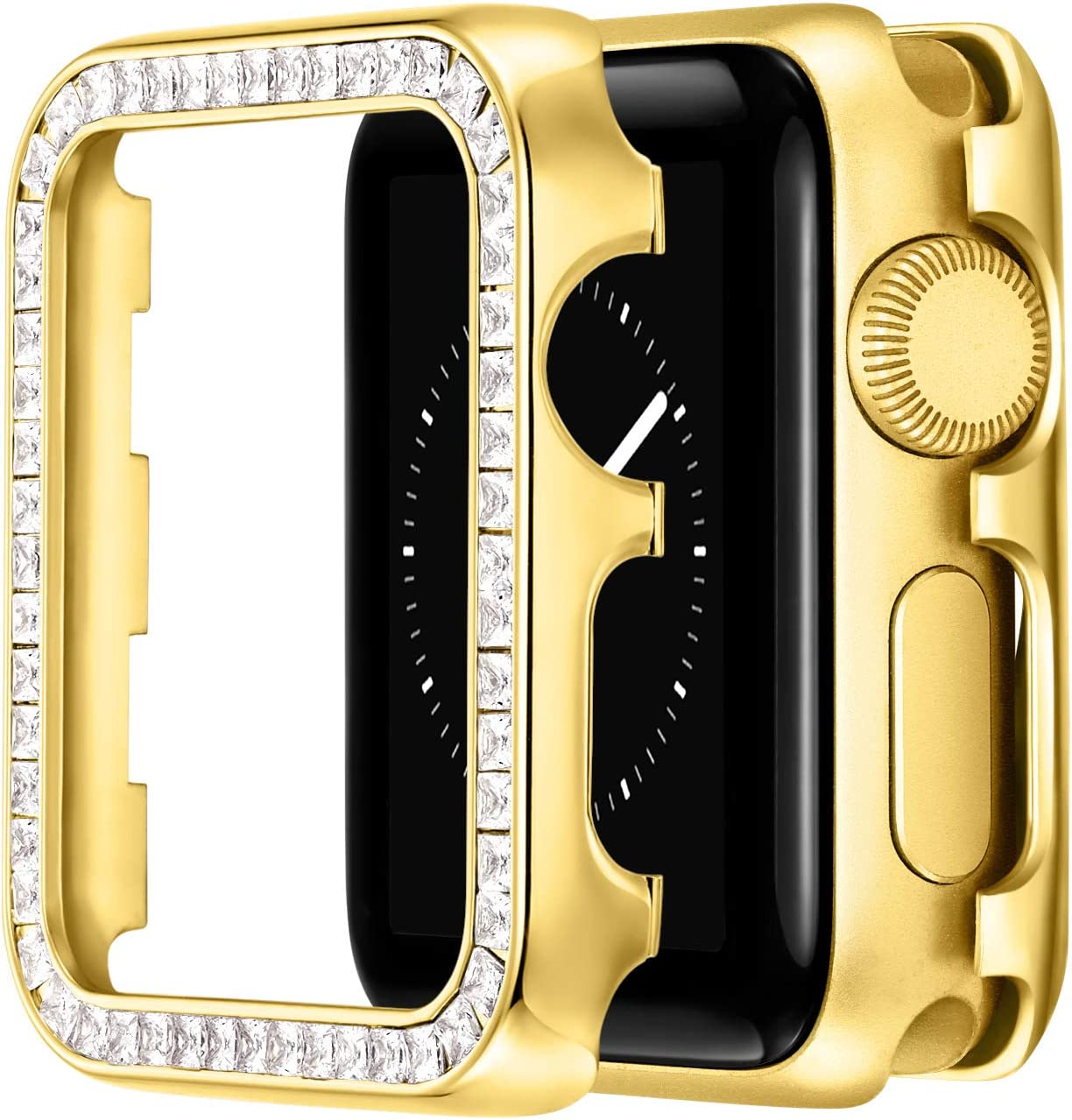 PROATL Compatible for Sparkling Apple Watch Case 42MM, Bling Protective Cases with Luxury Gorgeous Large Square Crystal Diamond with Gift Box for iWatch Series 3/2 (Diamond/ Yellow Gold)
