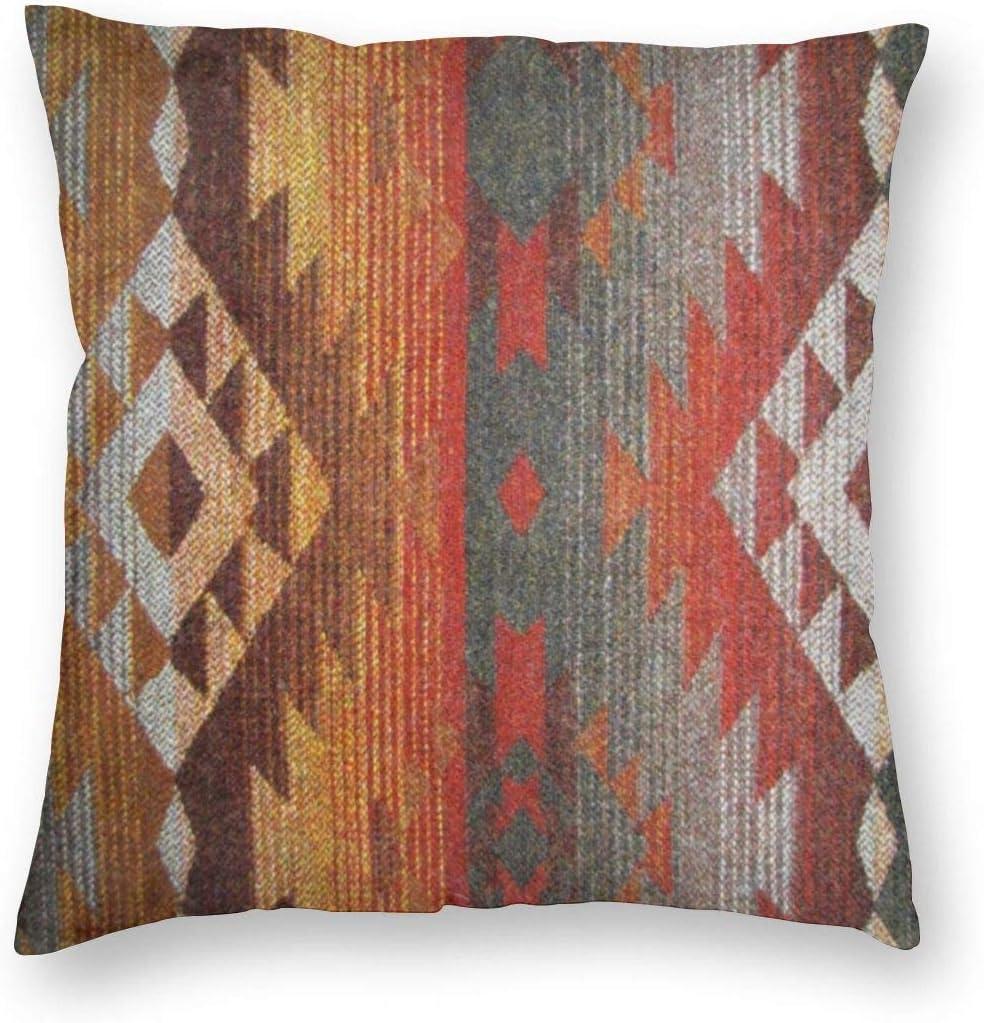 antcreptson Throw Pillow Cover Pillowcase Western Navajo Orange Grey Southwest Decorative Pillow Case Home Decor 18x18 Square Size Cushion Case
