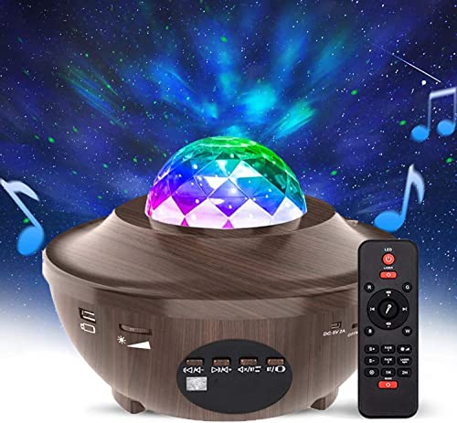 Homcasito Star Projector Night Light Adjustable Ocean Wave Projector with Remote Control Built-in Bluetooth Speaker Best for Gifts Birthday Party Wedding Bedroom Decor Wood Grain