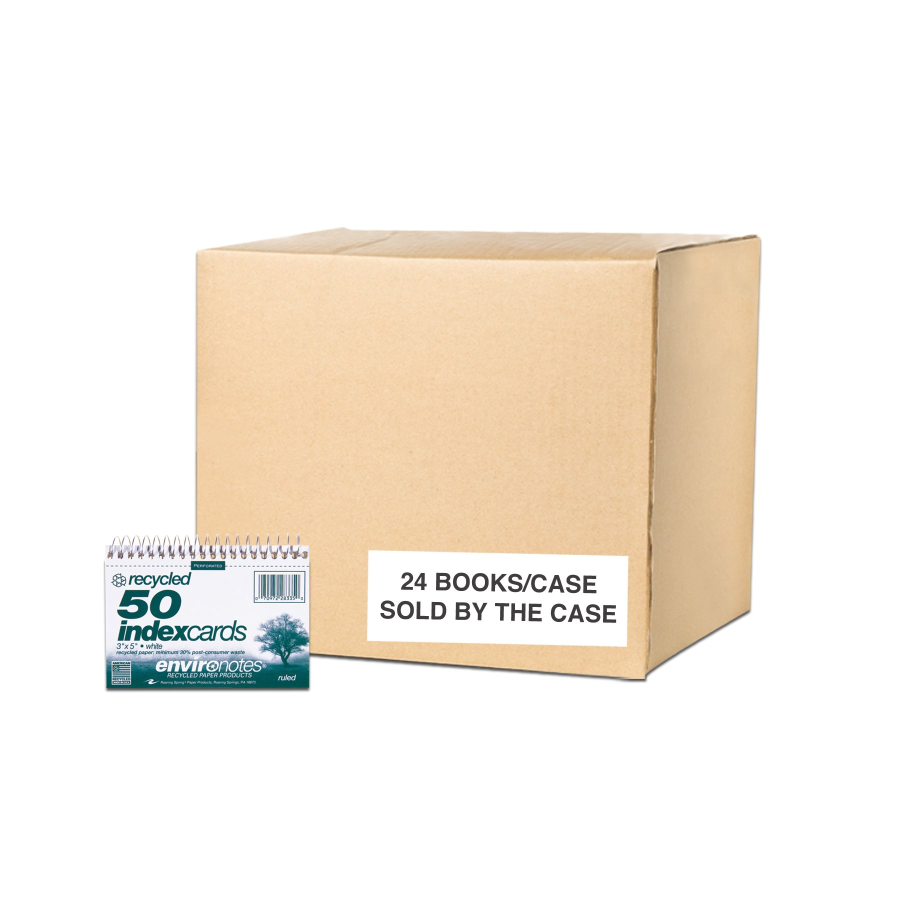 Case of 24 Packs of Wirebound Index Cards, 3''x5'', 50 sheets of White Recycled 100# index, narrow Ruled one side, Perforated