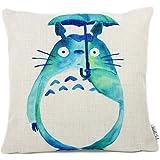 Elviros Cotone Misto Lino Decorativo Fodera per Cuscino 45x45cm [18x18'' pollici] - Totoro Verde