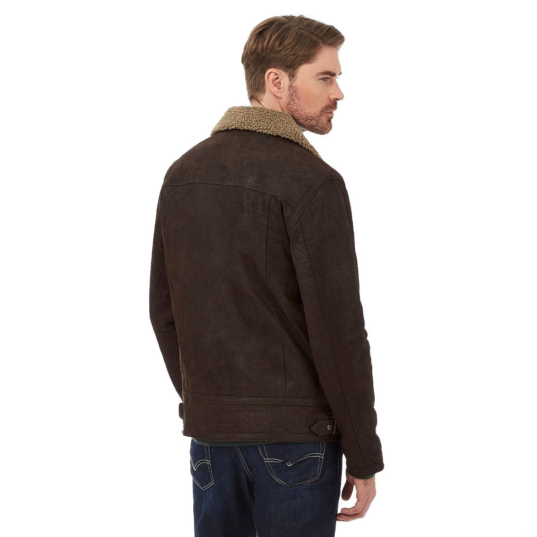 Barneys Mens Dark Brown Borg Collar Leather Jacket