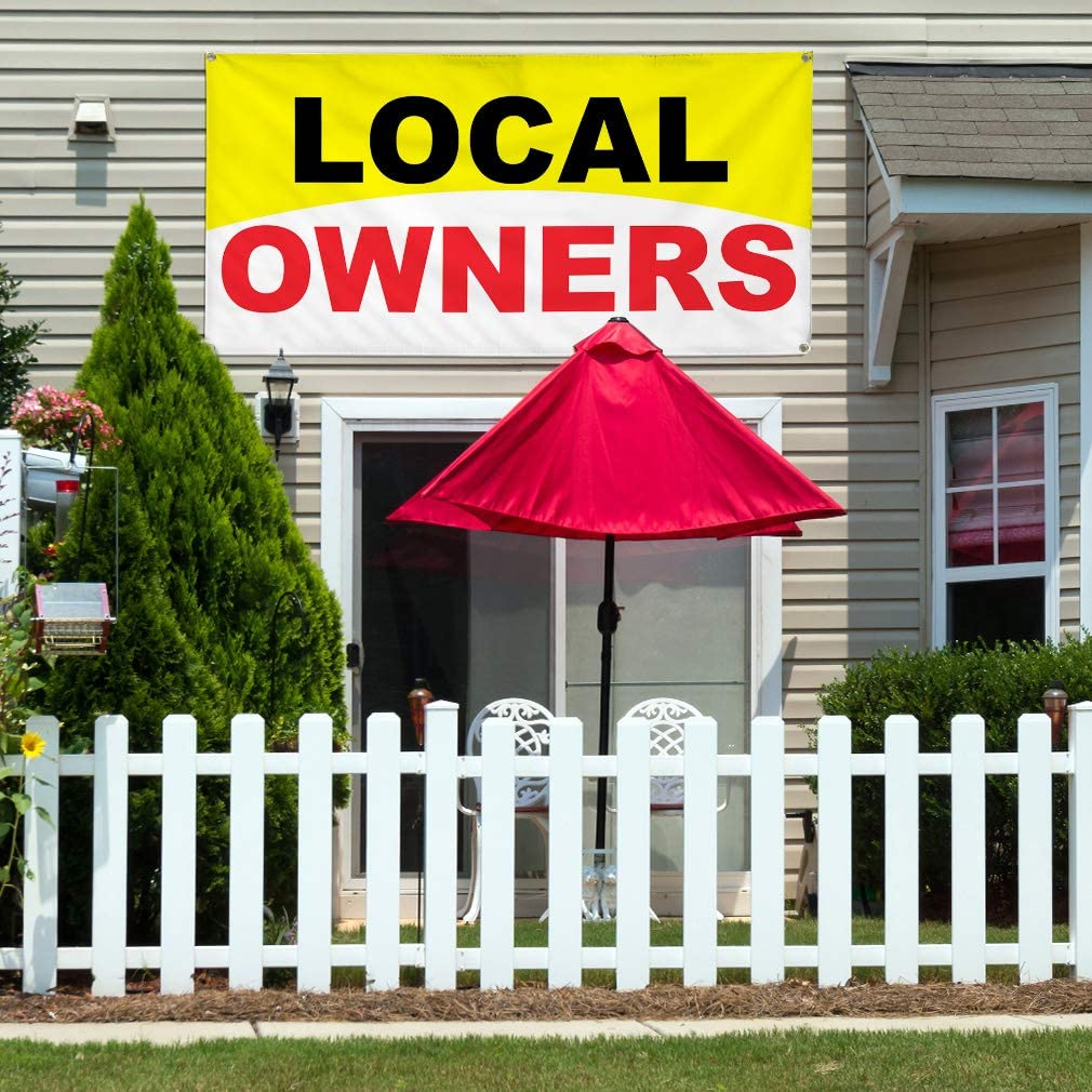 Vinyl Banner Multiple Sizes Local Owners Business C Business Outdoor Weatherproof Industrial Yard Signs Red 10 Grommets 60x144Inches