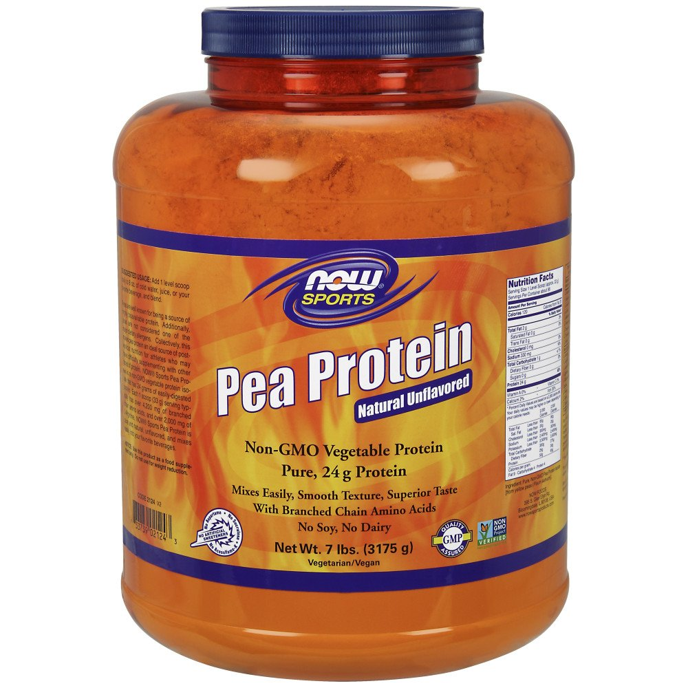 NOW Sports Pea Protein Natural Unflavored Powder,7-Pound