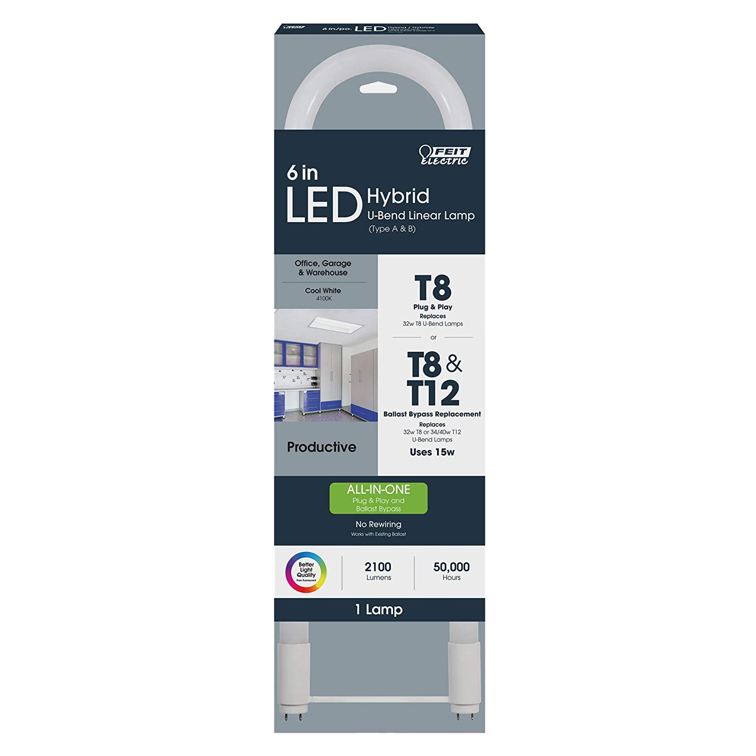 Feit Electric 6 U-Bend Linear LED T8 4000K Pack of 8