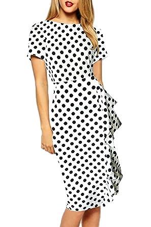 1655b2a3a8f86 Yacun Femme Élégante Robe Crayon Business Mosaique Bureau Travail ...