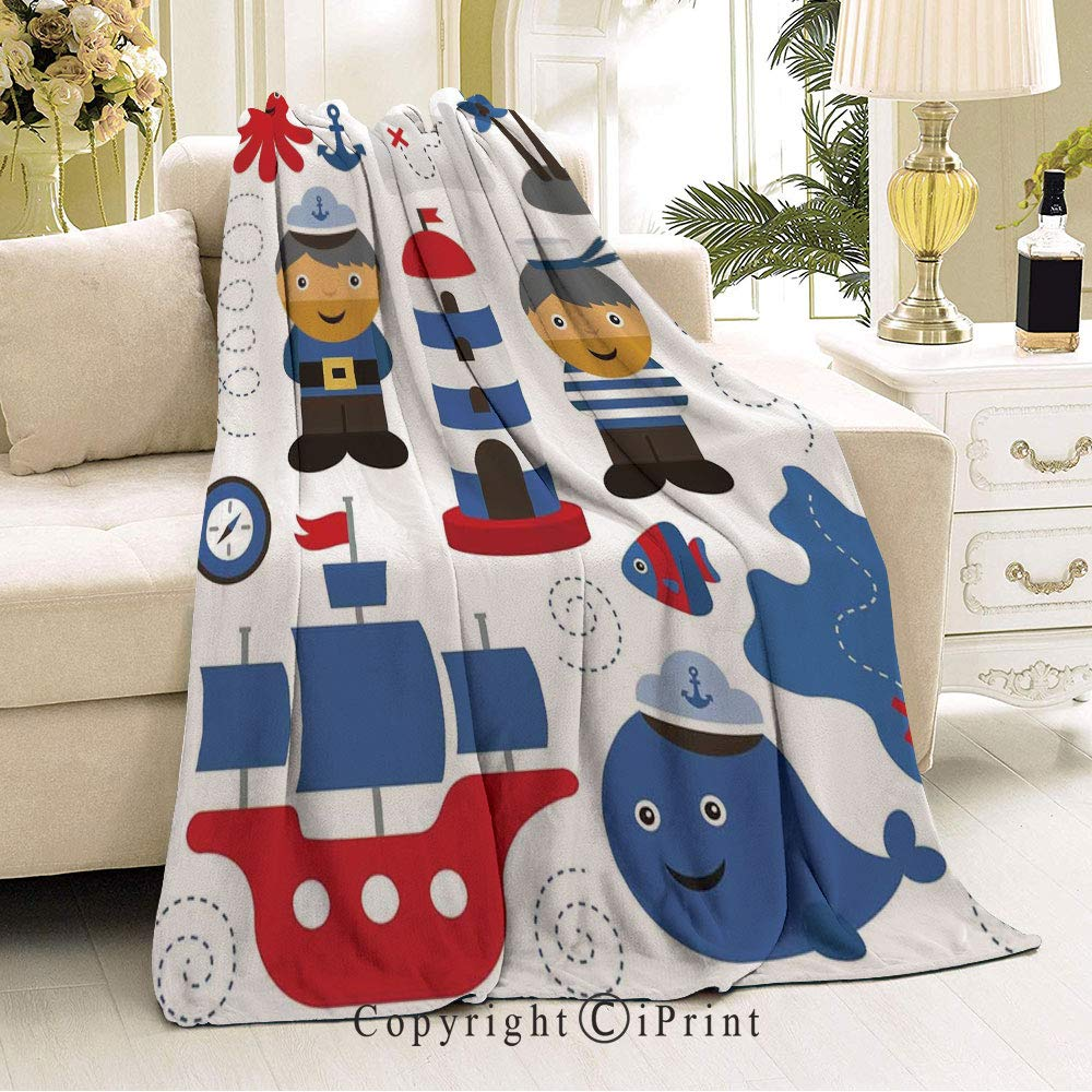 RWNFA Soft Flannel Fleece All Season Blanket,Anti-Pilling,Suitable for Many Seasons,32 Wx51 L There is a Baby on The Way Cartoon Dolphin Abstract Ocean Waves Circular Blue Red White