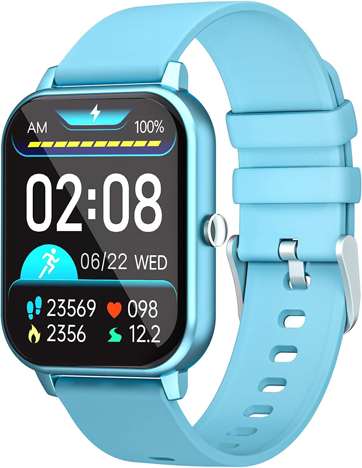 GJT 1.69'' Smart Watch, Calls and Message Notifications, LCD Fitness Tracker Watch for iPhone Samsung Android Smartphone, 8 Sport Modes, Support Heart Rate SPO² Blood Pressure Sleep Monitor (Blue)