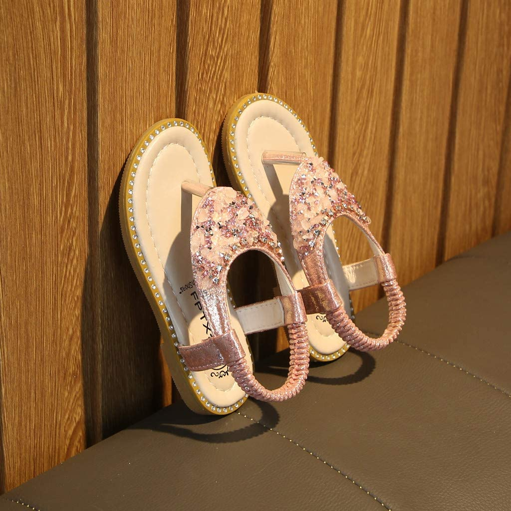 Everymony Summer Fashion Girls Rhinestones Toe Elastic Band Princess Shoes Sandals