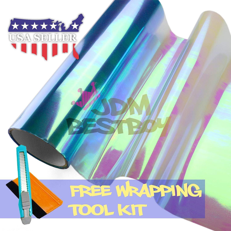 JDMBESTBOY Free Tool Kit 12x24 Chameleon Neo Light Blue Color Headlight Taillight Fog Light Side Marker Vinyl Tint Film Self Adhesive 1FT x 2FT