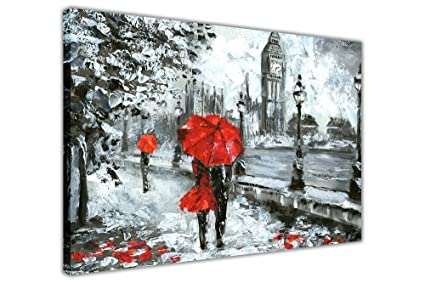 aec17782e Image Unavailable. Image not available for. Color: Couple Holding Red Umbrella  in London on Framed Canvas Wall Art Prints ...