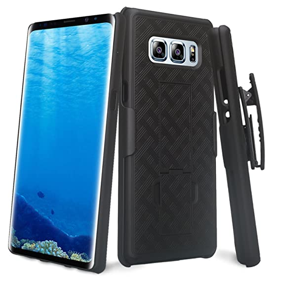 uk availability 1d729 b4a82 Samsung Galaxy Note 8 Slim Protective Grip Case & Rotating Belt Clip  Holster Combo with Built In Kickstand