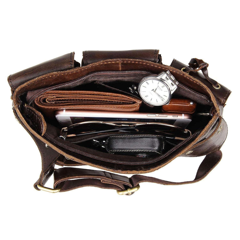 Mens Waist Bag Cowhide Leather Bum Bag Multipockets