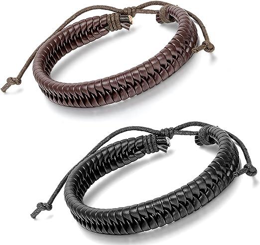 ejemplo de pulsera de cuero trenzado