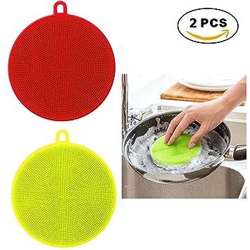 Nueva esponja antibacterial multiusos de Scrubber de silicona para lavar platos, lavadora de frutas y