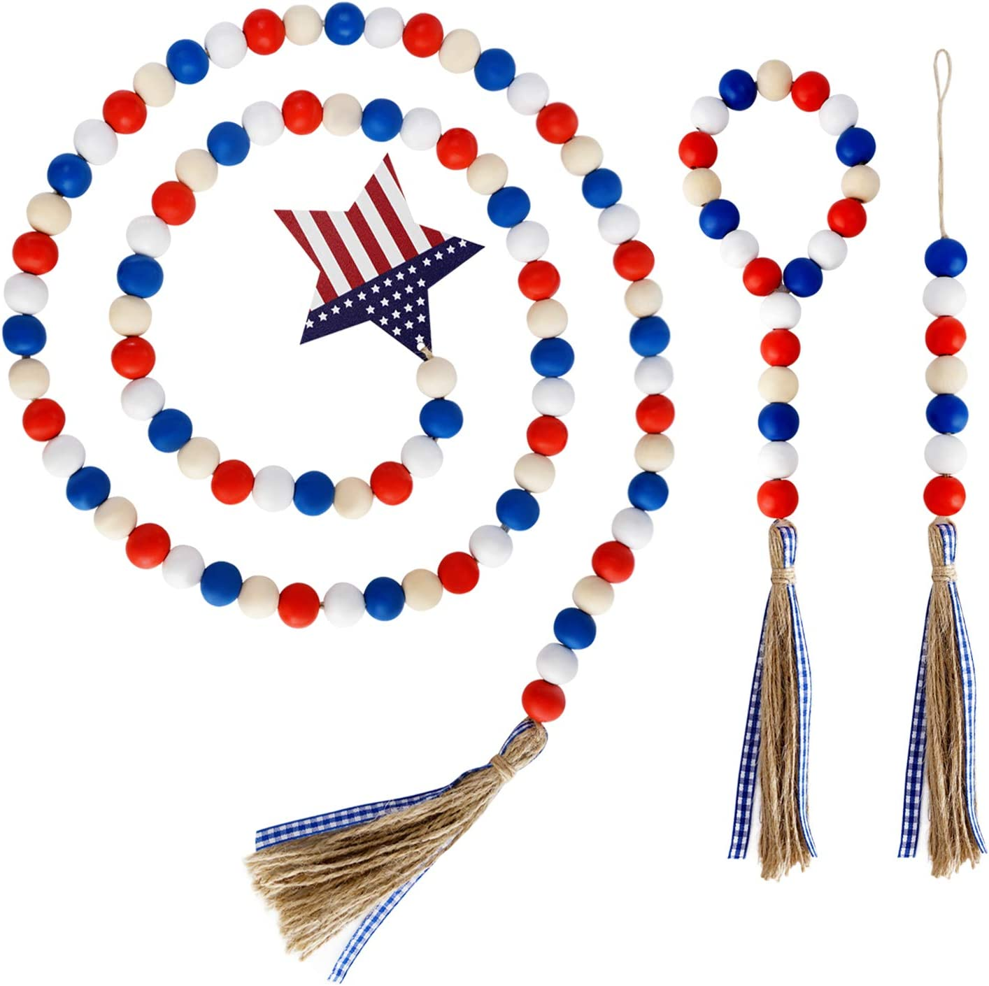 wartleves 3 Pcs Independence Day Wood Bead Garland Set Patriotic 4th of July Bead Garland with American Flag and Rustic Tassels Farmhouse Wall Hanging Prayer Beads for Memorial Day Decoration