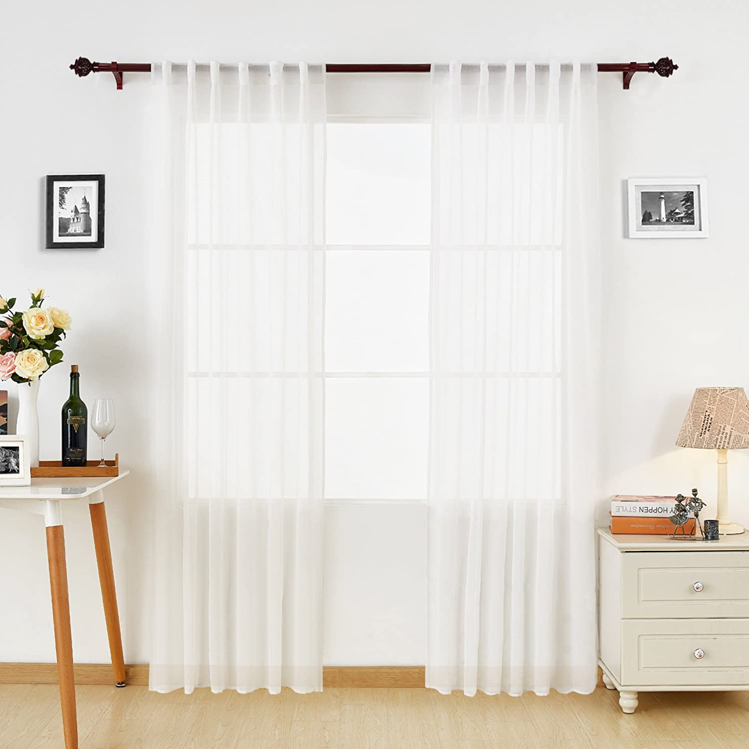 White Sheer Curtains Back Tab Linen Look Transparent Curtain Voile