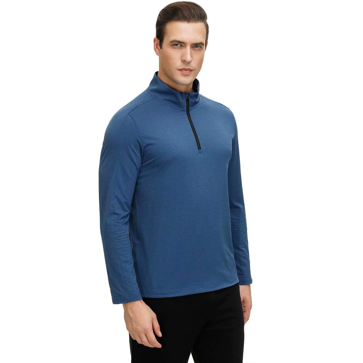 Mens Long Sleeve Half Zip Running Top Quick Dry Lightweight Sport Breathable Top for Workout Jogging Warm-up Gym Fitness