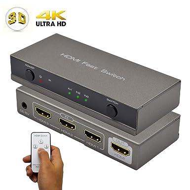 HDMI Switch, AMANKA Conmutador HDMI Switcher 3 Puertos con Control Remoto, Automático Switch 3