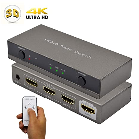 HDMI Switch 3x1, Cingk 3 Input 1 Output HDMI Switcher Amplifier Splitter  Box Supports IR Remote 4K 3D Full HD 1080p for HDTV, Blu-ray, DVD, PS4,  Xbox